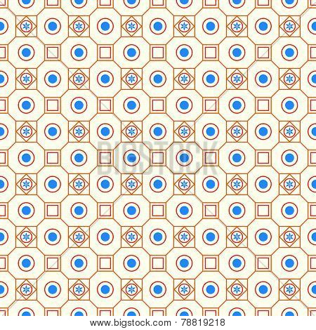 Orange Retro Flower Circle And Square Seamless Pattern