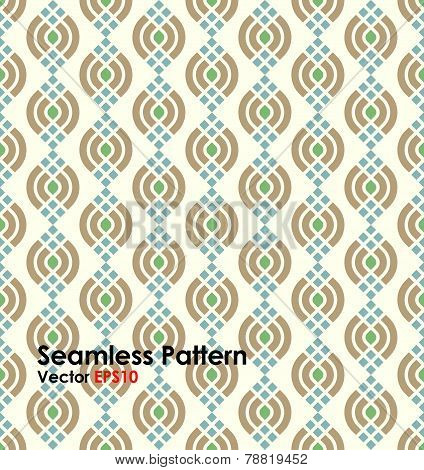 Brown Abstract Lotus Seamless Pattern On Pastel Background