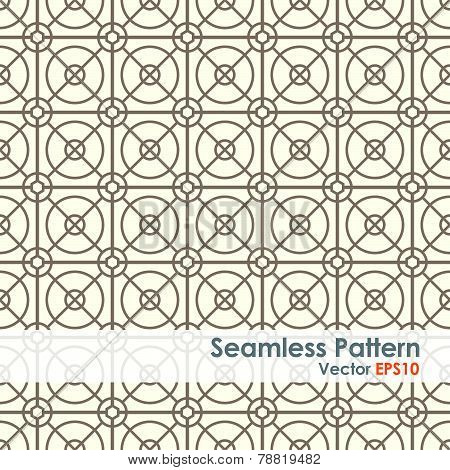 Brown Circle And Square And Hexagon Seamless Pattern