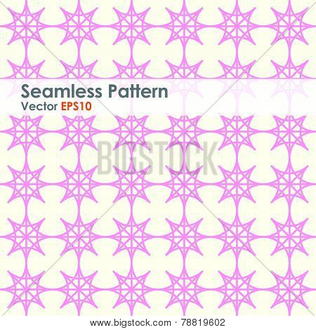 Pink Double Star And Circle Seamless Pattern On Pastel Color