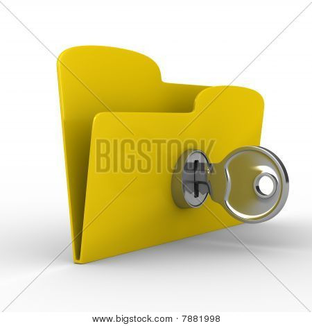 Yellow Computer Folder With Key. Isolated 3D Image