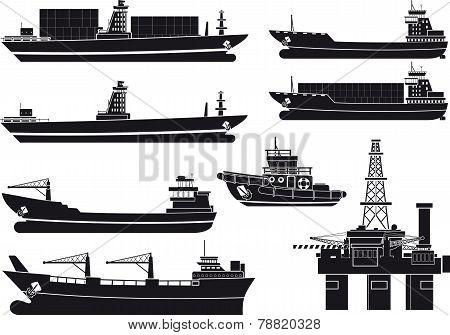 cargo Vessels tugboat and oil platform