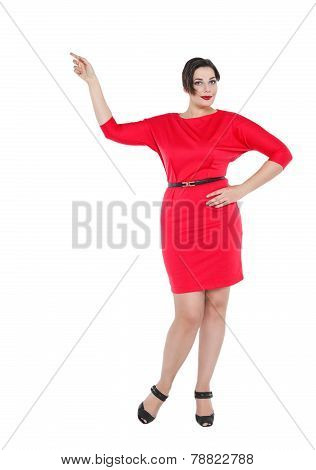 Beautiful Plus Size Woman In Red Dress Showing On Something