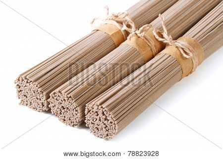 Buckwheat Soba Noodles In Bunches Isolated On White