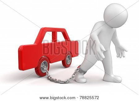 Man and car (clipping path included)