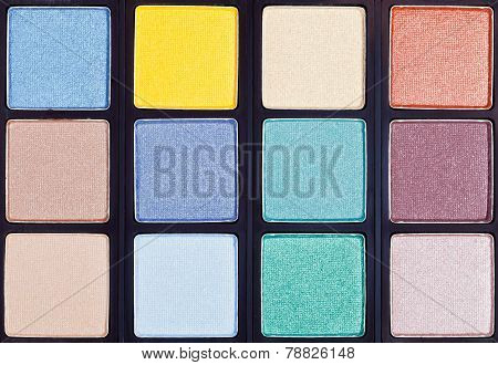 Background From Makeup Palette Close Up