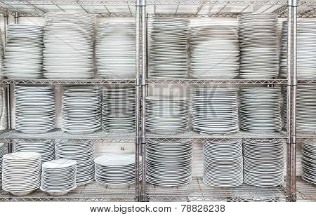 Stacks Of White Plates