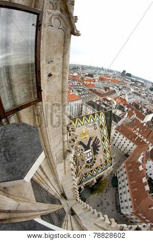 Incredible View Of The City From The Cathedral Of St. Stephen In Vienna