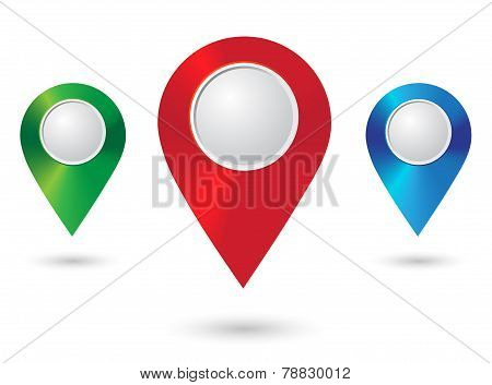 Shiny metal location icons. Map Pointers. Round shape