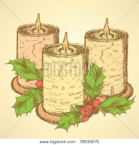 Sketch Candle With Mistletoe In Vintage Style