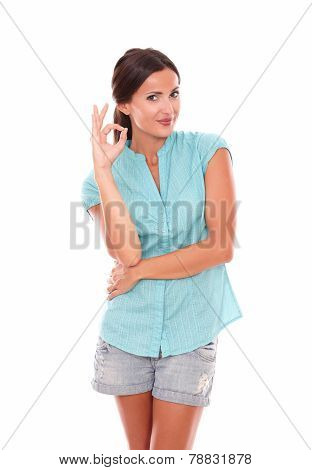 Latin Lady In Blue Blouse Gesturing A Great Job