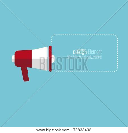 Megaphone, loudspeaker with bubbles speech