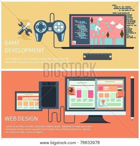Game development and web design concept