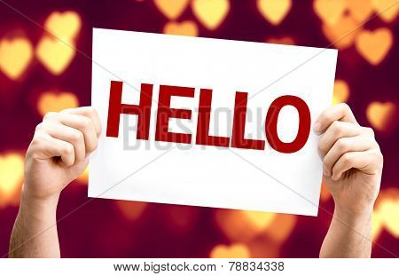 Hello card with heart bokeh background