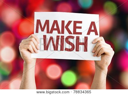 Make a Wish card with colorful background with defocused lights