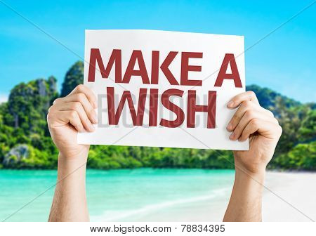 Make a Wish card with a beach on background