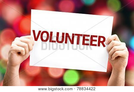 Volunteer card with colorful background with defocused lights