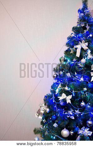 Christmas tree background. Blue toned