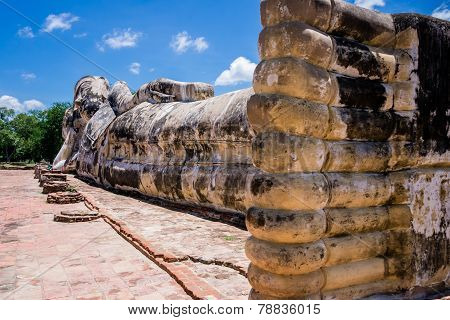 Reclining Buddha of Wat Lokaya Sutha shooted from the feet, Thailand