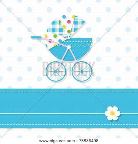 baby boy stroller greeting card