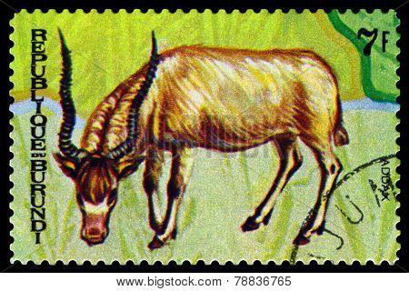 Vintage  Postage Stamp. Animals Burundi, Addax.