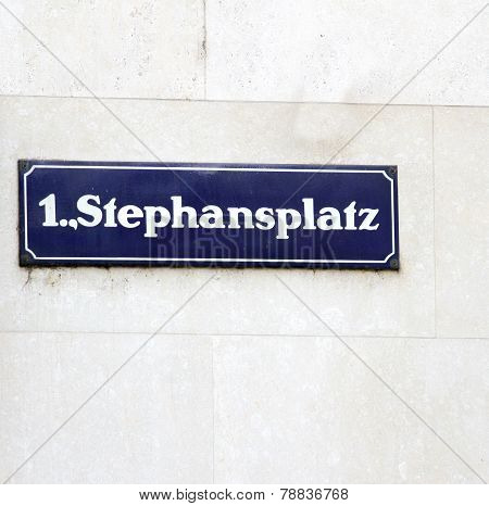 Road Sign With The Name Of The Square In Vienna