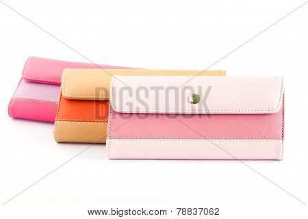 Woman Purse (wallet) isolated on the white background.