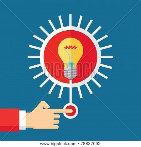 Idea generation - vector concept illustration in flat style design. Human hand with button and light