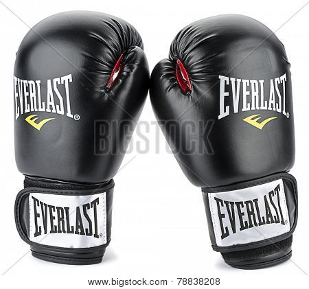 Ankara, Turkey - November 25, 2014: A pair of black Everlast gloves isolated on white background.