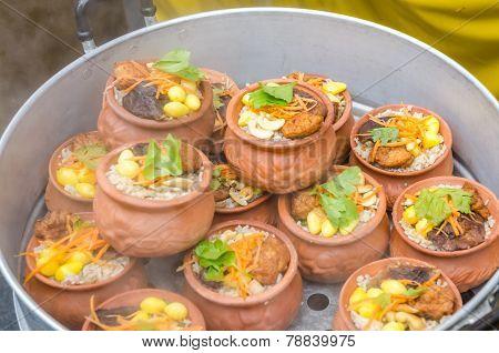 Chinese Zongzi,  Simply Zong, Or Rice Dumplings In Clay Pot