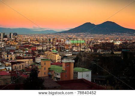 Naples Cityscape with Vesuvio