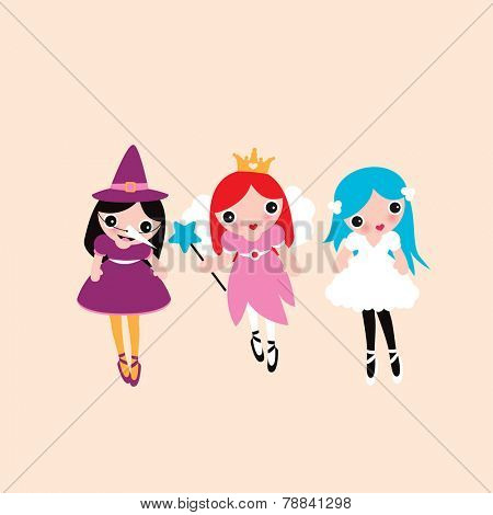 Three best friends dressed up in princess witch and little cute fairy costumes adorable girls illustration print in vector