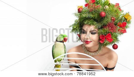 Beautiful creative Xmas makeup and hair style indoor shoot. Beauty Fashion Model Girl. Winter