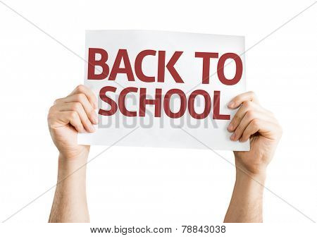 Back to School card isolated on white background