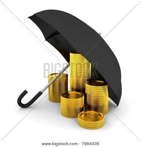 Pile Of Coins Under A Umbrella