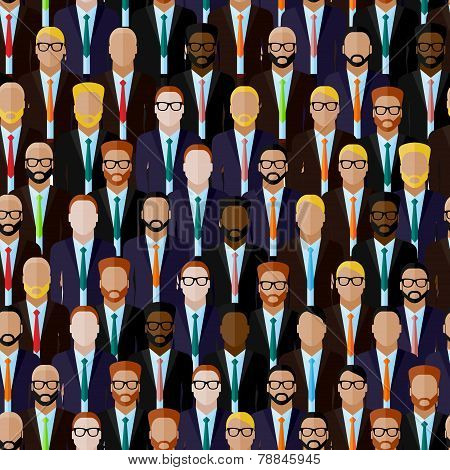 vector seamless pattern with businessmen or politicians crowd. flat  illustration of business