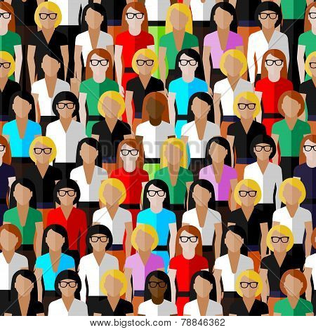 vector seamless pattern with a large group of well- dresses ladies. flat  illustration of business o