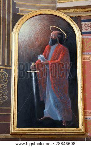 TRAVNIK, BOSNIA AND HERZEGOVINA - JUNE 11: Saint Paul, the altarpiece in the church of St. Aloysius in Travnik, Bosnia and Herzegovina on June 11, 2014.