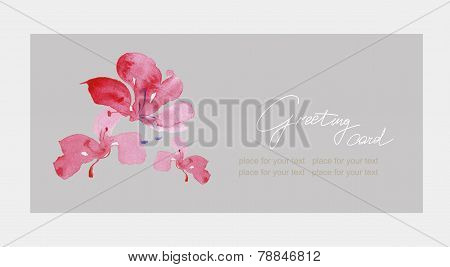 Floral greeting card with beautiful pink  flovers