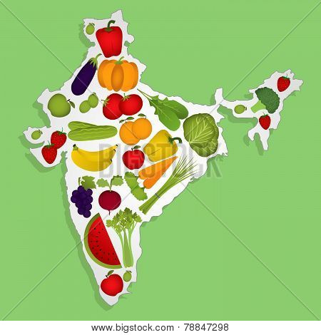 Map Of India With Fruits