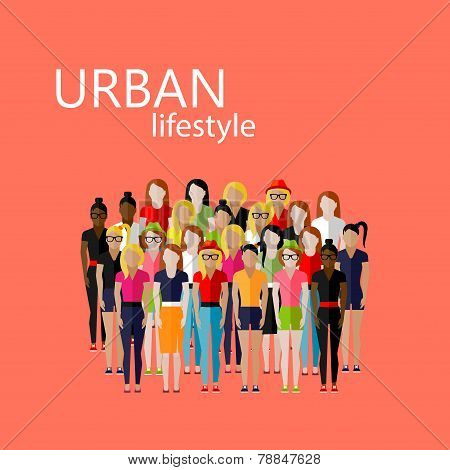 vector flat  illustration of female community with a large group of girls and women. urban lifestyle