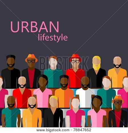 vector flat  illustration of male community with a large group of guys and men. urban lifestyle conc