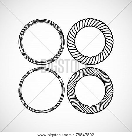 Set of vector lace frames design templates. Graceful lineart logo design elements