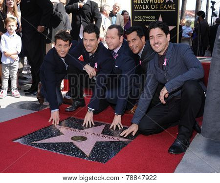 LOS ANGELES - OCT 09:  New Kids on the Block (NKOTB) arrives to the New Kids on the Block get a Star on October 9, 2014 in Hollywood, CA