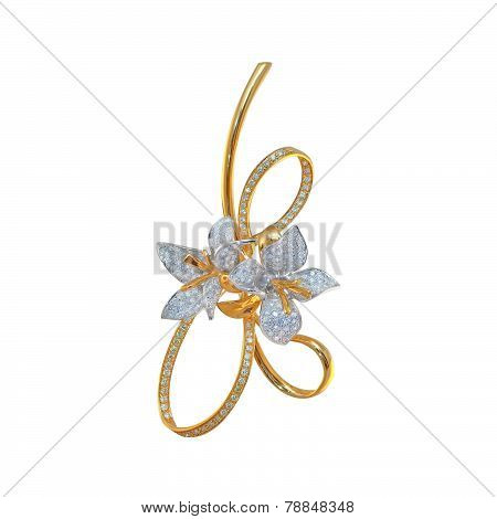 golden brooch with diamonds on a white