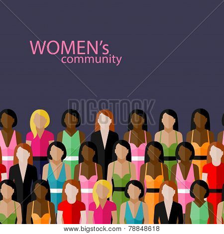 vector flat  illustration of women community with a large group of girls and women. feminist concept