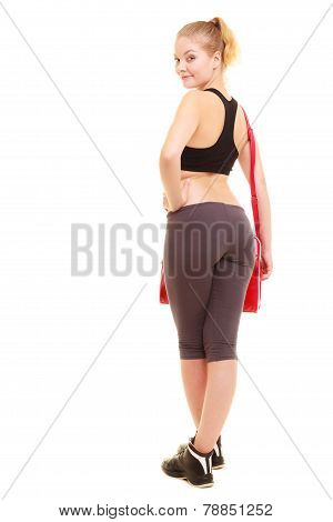 Sport. Back Of Fitness Sporty Girl In Sportswear With Gym Bag