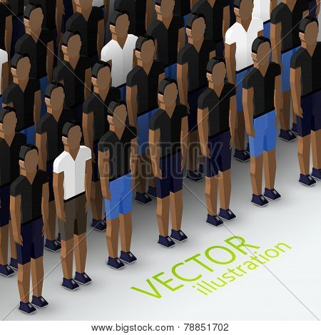 vector isometric 3d  illustration of men's community with a large crowd of guys and men. social grou