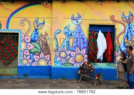 Brightly coloured mural, Ataco, El Salvador