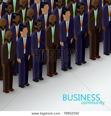 vector 3d isometric  illustration of business or politics community. a large group of business men o